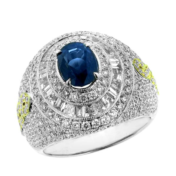 View 14Kw or y/14kr Gold Sapphire Ring