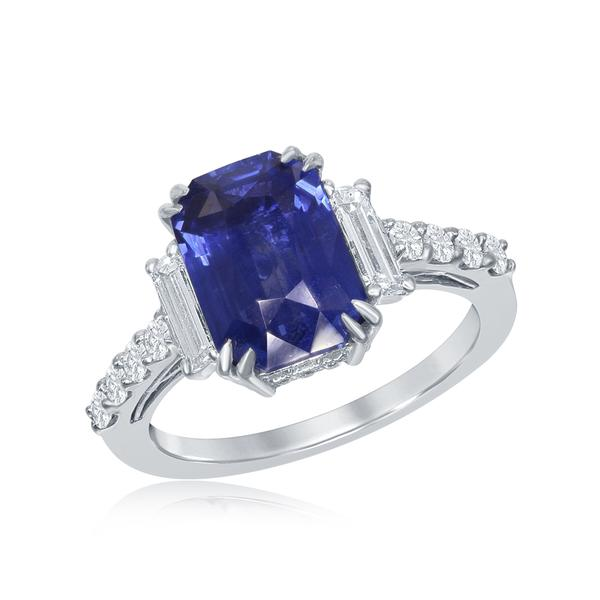 View Platinum Gold Sapphire Ring