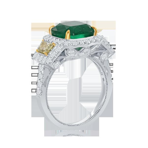 View 14Kw or y/14kr Gold Emerald Ring