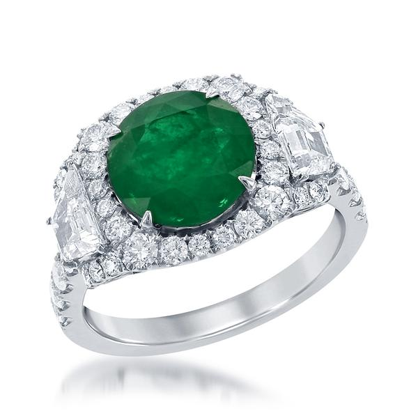 View 18Kw or 18ky/18kr Gold Emerald Ring