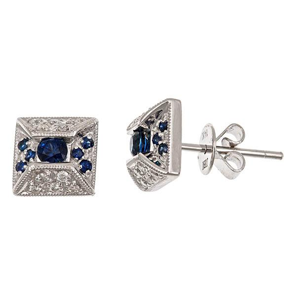 View 14Kw or y/14kr Gold Sapphire Earrings