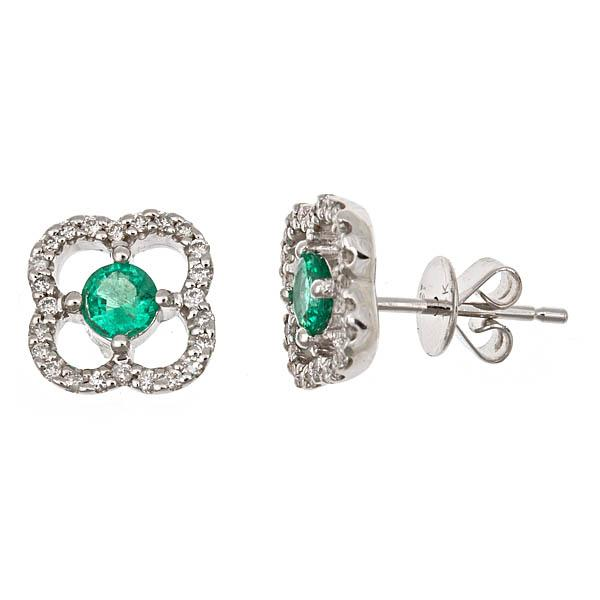 View 14Kw or y/14kr Gold Emerald Earrings
