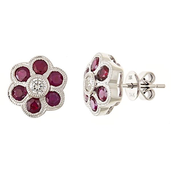 View 14Kw or y/14kr Gold Ruby Earrings