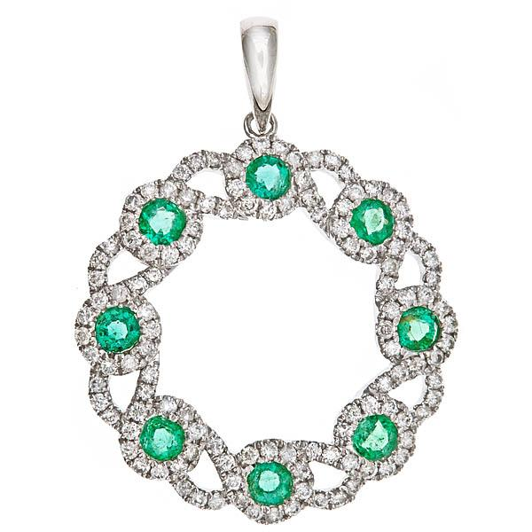 View 14Kw or y/14kr Gold Emerald Pendant